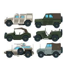 colored pictures military heavy vehicles vector image