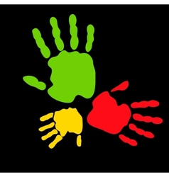 Colorful hand prints vector image