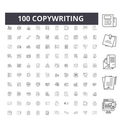 copywriting line icons signs set outline vector image