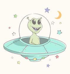 Cute alien flies in flying saucer vector