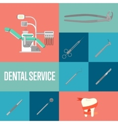 Dental service square composition with instruments vector