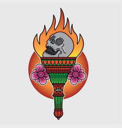 design traditional torch tattoo flash vector image