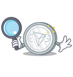 Detective tron coin character cartoon vector