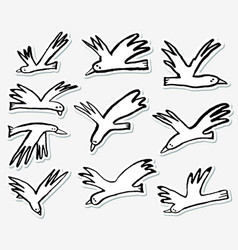 doodle birds stickers set collection with funny vector image vector image
