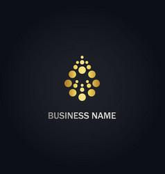 Droplet dot abstract bio gold logo vector