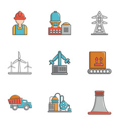 Energy industry icons set cartoon style vector