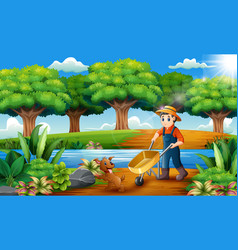 Farming activities on the park with animals vector