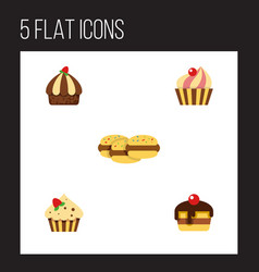 Flat cake set of sweetmeat cupcake confectionery vector