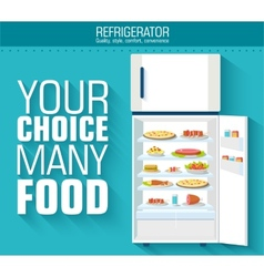 Flat fridge full of many food background concept vector image
