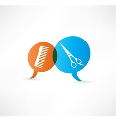 Flat speech bubble icon with hairdressing tools vector