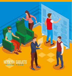 Gadgets show room isometric composition vector