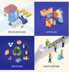 Garbage recycling isometric design concept vector