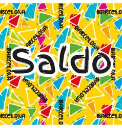 Gaudi mosaic pattern and word Barcelona vector