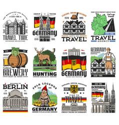 Germany travel german berlin and munich landmarks vector