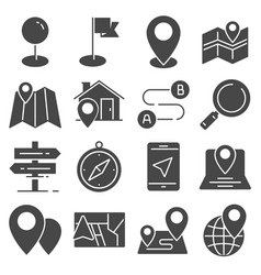 gray navigation and map icons set vector image