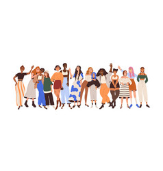 group happy diverse women with different skin vector image