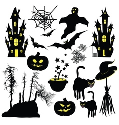 Halloween objects isolated on white background vector image vector image