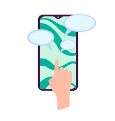 hand holding smartphone with chat box message on vector image
