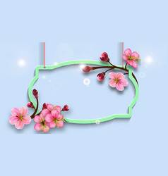 Hanging figured frame with branches cherry vector