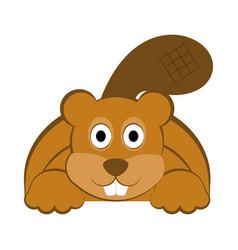 Happy beaver icon vector