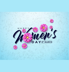 happy womens day floral greeting card vector image