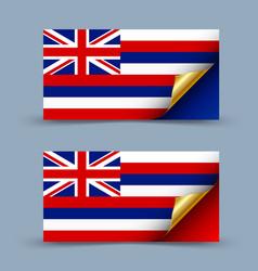 hawaiian flag with golden curled corner on grey vector image