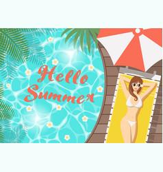Hello summer woman on pool deck vector
