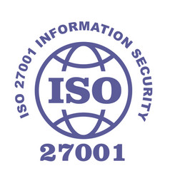 Iso 27001 stamp sign - information security vector