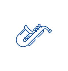jazz saxophone line icon concept jazz saxophone vector image