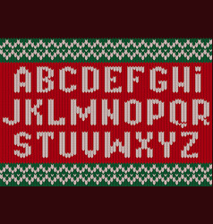 knitted font christmas alphabet for party sweater vector image
