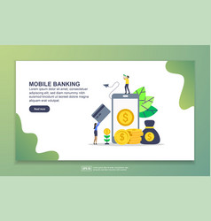 landing page template mobile banking modern vector image