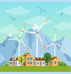 Landscape with houses windmills and mountains vector