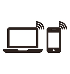 Laptop mobile phone and wireless network icon vector image
