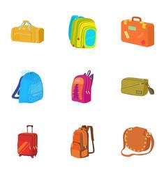 Luggage icons set cartoon style vector