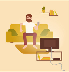 Male cartoon character sitting on cozy couch vector