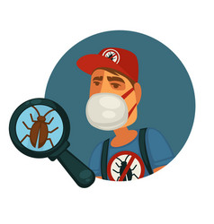 Man in mask and uniform who exterminates pests vector