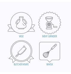 Meat grinder butcher knife and whisk icons vector image