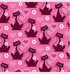mod cat pattern background pattern vector image vector image