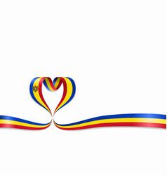 Moldovan flag heart-shaped ribbon vector