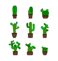 monochrome icons with cactus vector image