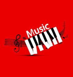 music design with staff and piano keys on red vector image