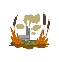 Nature pollution factory toxic waste swamp vector