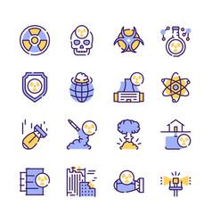 Nuclear color linear icon set editable stroke vector