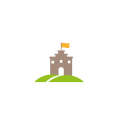 old castle tower in a green plateau with a flag vector image