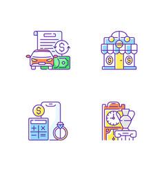 Pawnbroker shop rgb color icons set vector