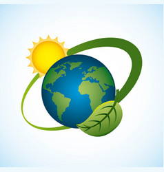 planet world sun energy environment clean vector image