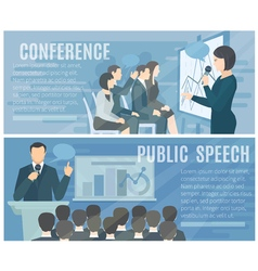 Public Speaking Flat Horizontal Banners Set vector