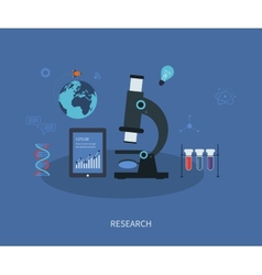 research flat infographic with a laboratory vector image