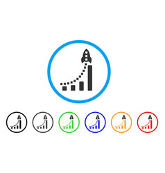 rocket business bar chart rounded icon vector image