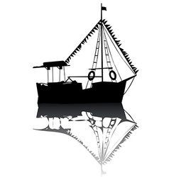 Sailing boat silhouette vector